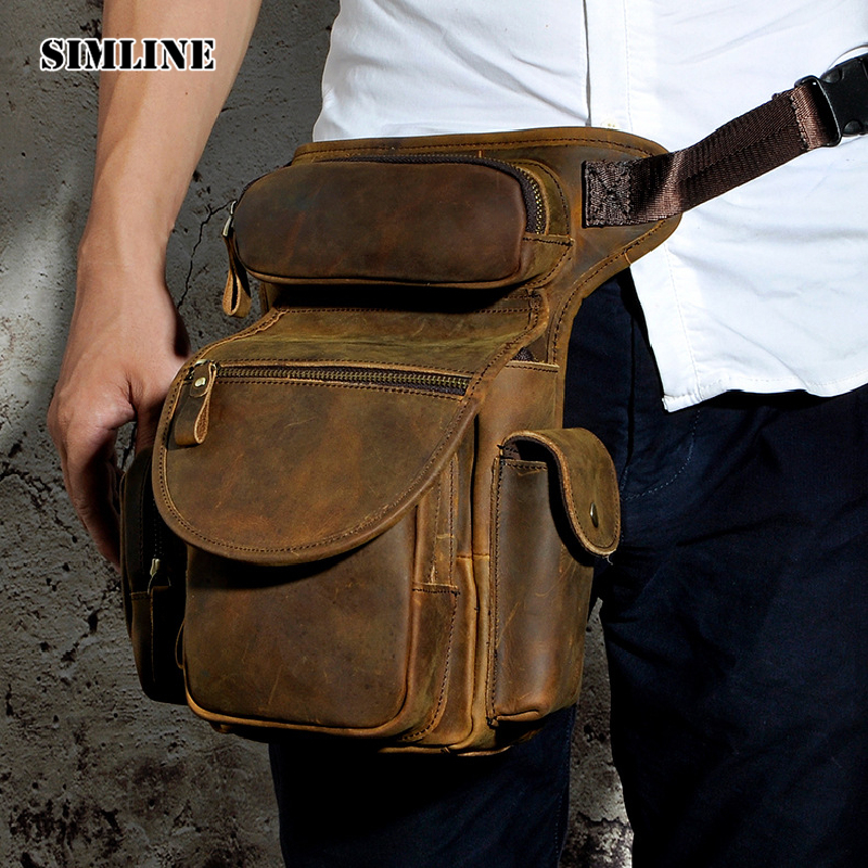 SIMLINE Vintage Casual Genuine Leather Cowhide Men Male Outdoor Shoulder Messenger Crossbody Bag Bags Waist Pack Packs For Man vintage bags real genuine leather cowhide men waist pack pouch for men leather waist bag outdoor travle belt wallets vp j7144