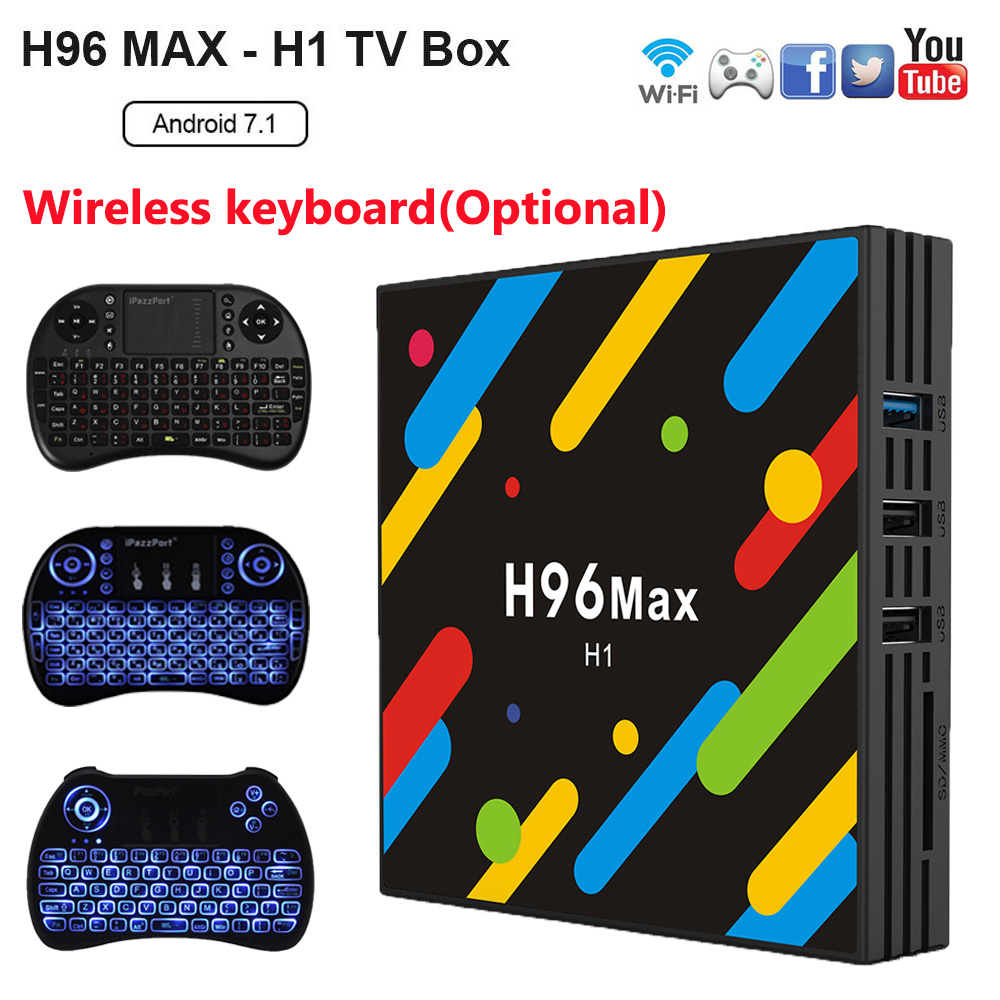 цена H96 MAX -H1 Android 7.1 TV Box RK3328 2.4G/5G Wifi 4GB RAM 32GB ROM Set Top Box Bluetooth 4.0 4K H.265 Media Player pk h96 pro