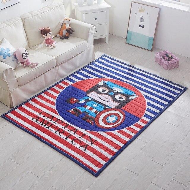 Captain America Carpet Für Wohnzimmer, Polyester Gesteppte Fußmatte, Blau  Und Rot Streifen Cartoon Spielmatte