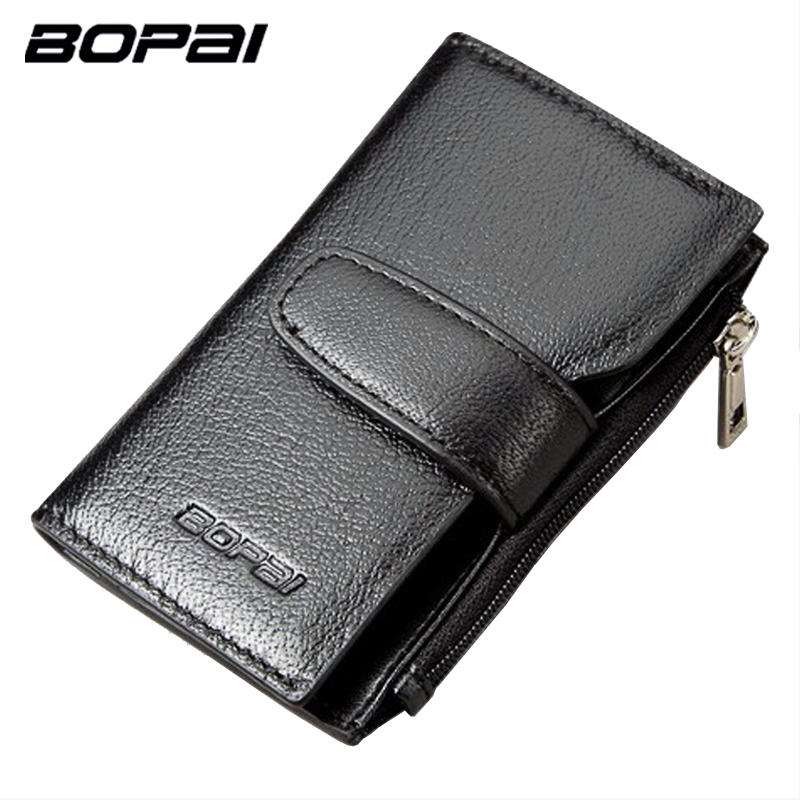 Genuine Leather Men Key Wallets With Coin Zipper Pocket Multifunctional Car Key Holder Bag Small Black Key Purse Wallet Leather