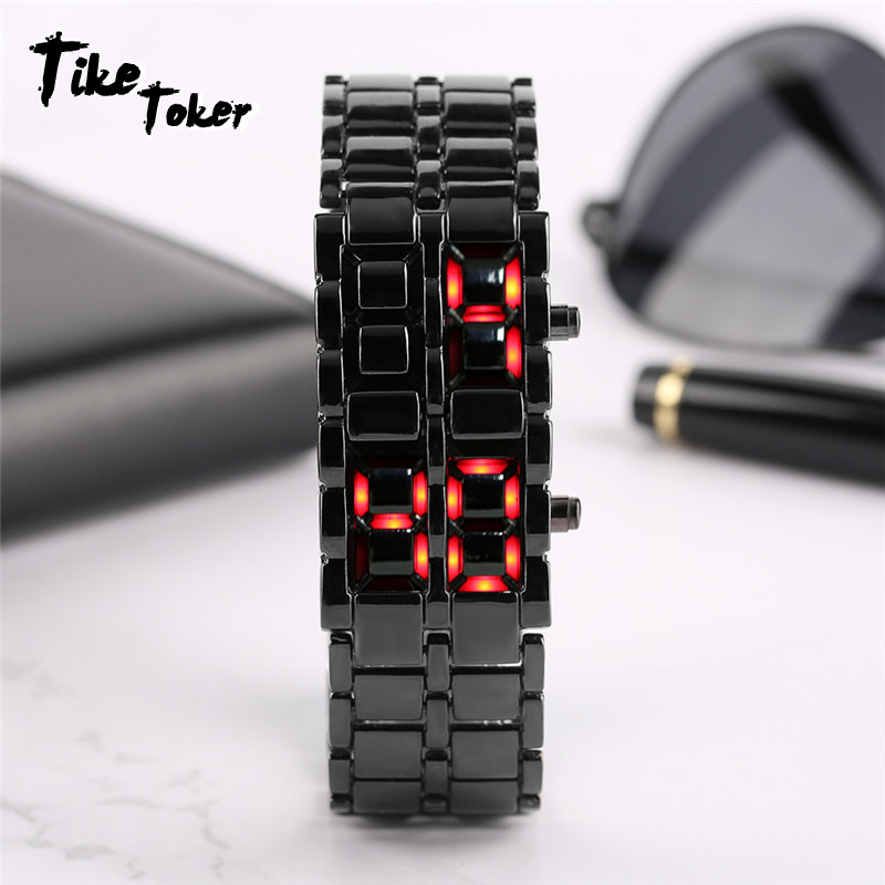Men's Watches Initiative Tike Toker,stainless Steel Bracelet Watch Men Women Lava Iron Samurai Metal Led Faceless Digital Wristwatches Relogio Masculino To Have Both The Quality Of Tenacity And Hardness Watches