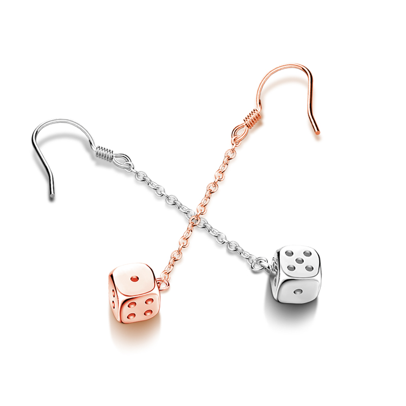 New Fashion Jewelry The dice Earrings For Women Hot Sale 1 Pair Long style  100% 925 sterling silver Earring Rose gold jewelry 1d5687440
