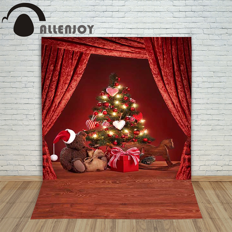 Christmas children's photo background Wooden Bear Dolls xmas Tree Curtains backdrop photography vinyl camera new year holiday a backdrop christmas backgrounds new year noel golden tree gift ball xmas photocall vintage fond newborns