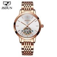 JSDUN Woman Watch Female Mechanical Skeleton Tourbillon Wristwatch 2019 Fashion Stainless Steel Casual Automatic Watches Lady