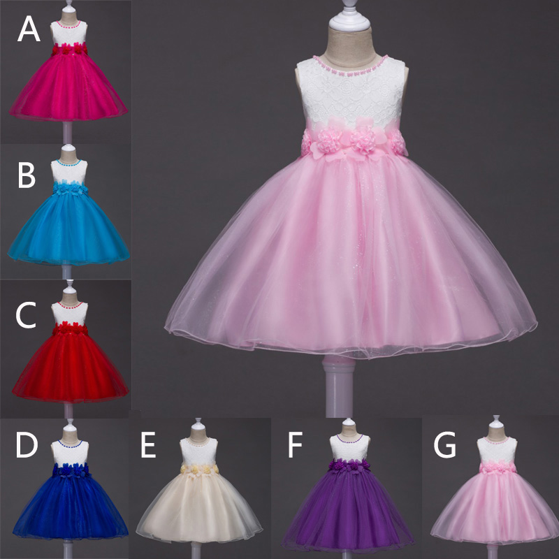 Dress for Girl Party Wedding Flower Lace Dress Children Costumes Dress Formal Chiffon Sleeveless Stage Dresses