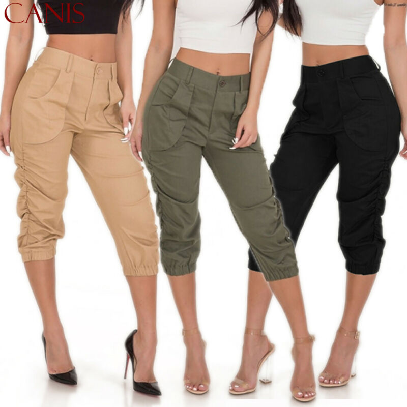 Casual Harem Trousers Women 3/4 Crop Capri High Waist Stretch Trousers Skinny Slim Elastic Pleated Trousers Summer Trousers