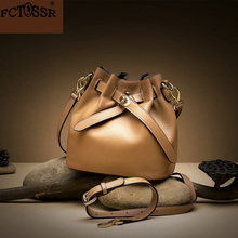 2019 Hot Fashion Drawstring Buckets Single Color Female Shoulder Bag Leather Sling Women Crossbody