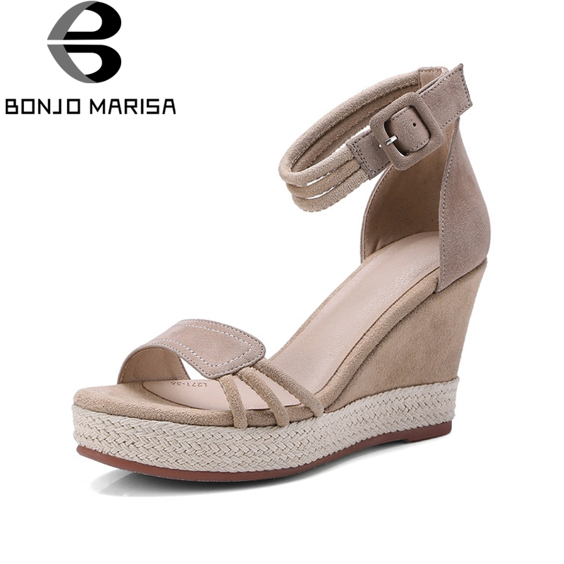 BONJOMARISA New women's Kid Suede Buckle Strap Wedges High Heels Solid Shoes Woman Casual Summer Sandals Black Size 34-39