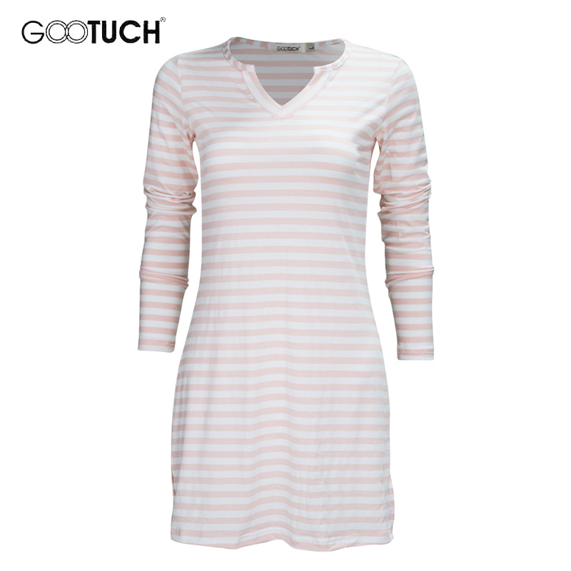 Women's Striped Nightgowns Long Sleeve Plus Size Sleepwear Women Casual Homewear Home Dress Nightdress Female Sleep Lounge 2541