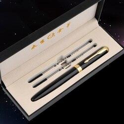 Frete grátis wingsung luxo metal rolo bola caneta com 0.5mm tinta preta recarga esferográfica canetas assinatura para o presente de natal
