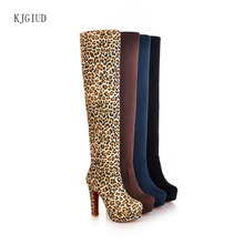 2019 New Sexy Long Tube Women Boots Stretch Matte Super High Heel Thick With Over The Knee Boots Women Botas Mujerbota Feminina