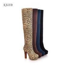 2019 nowa seksowna długa rurka kobiet buty Stretch matowy bardzo wysokie obcasy grube z ponad buty do kolan kobiety Botas Mujerbota Feminina