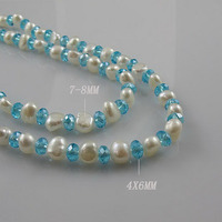 Unique Pearls jewellery Store 120cm Long Pearl Jewelry 4mm Blue Crystal Bead 7 8mm Baroque White Color Freshwater Pearl Necklace