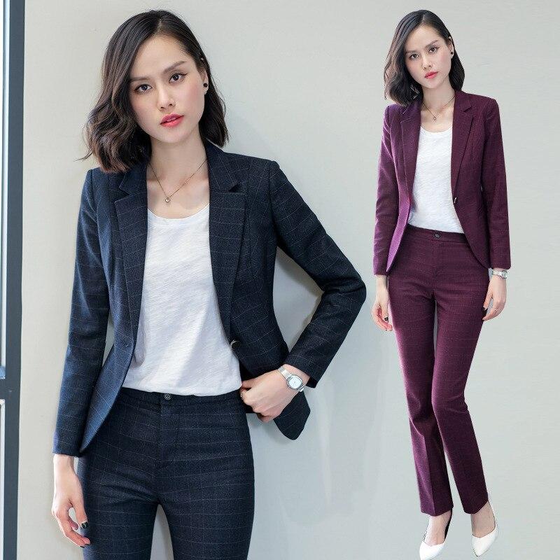 2018 autumn and winter Business uniform Pant Suits Women 2 Piece suit set Long sleeved Blazer and Pencil Pant Office Lady suits