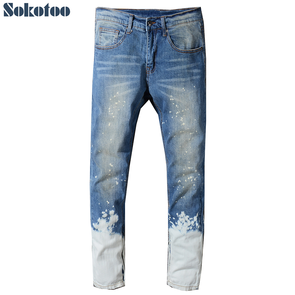 Sokotoo Mens contrast color blue white washed denim jeans Plus size bottom zipper slim straight pants