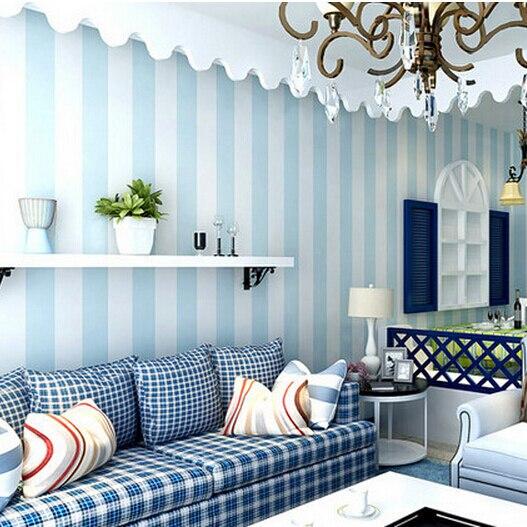 aliexpress: koop gezellige slaapkamer vinyl behang blauw wit, Deco ideeën