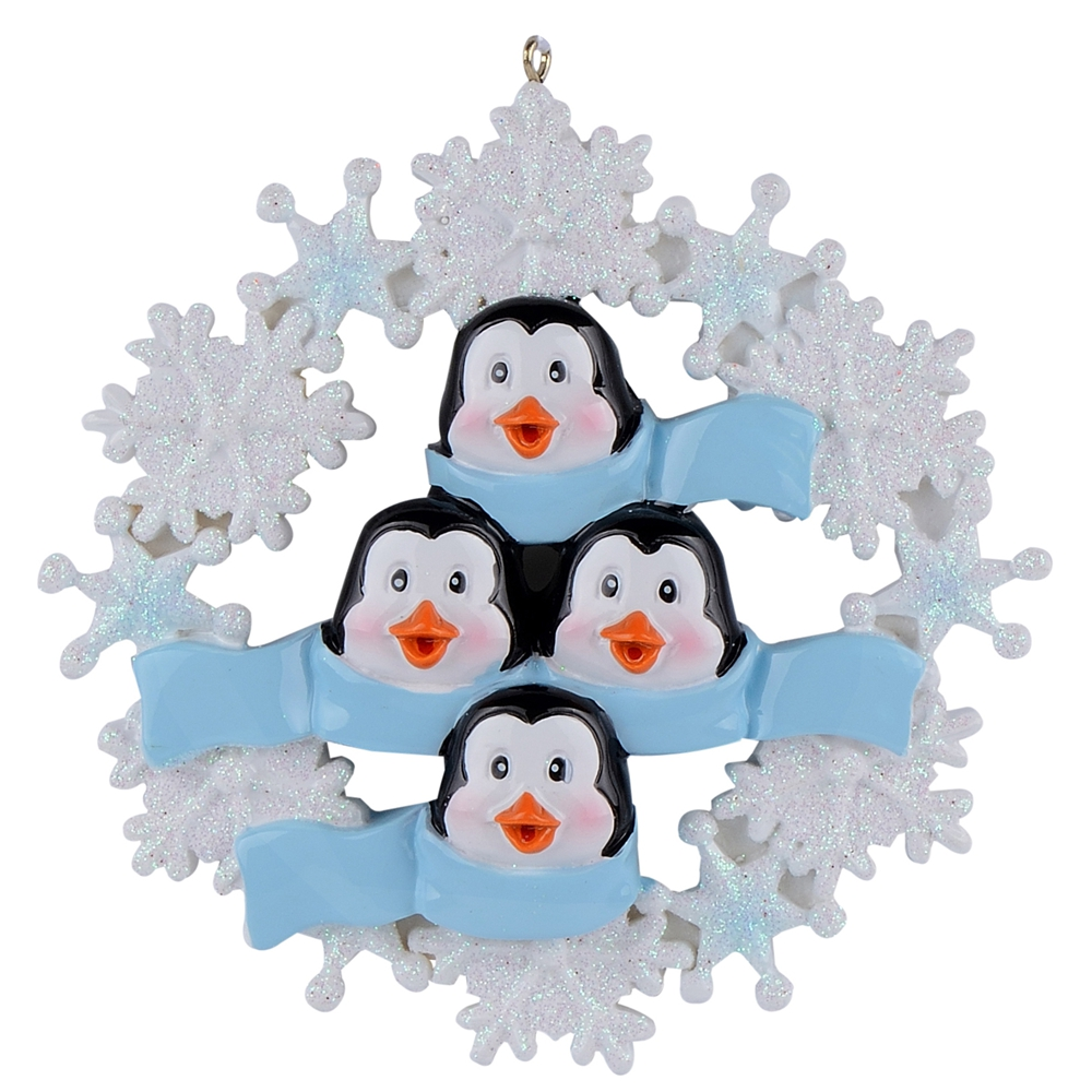 Penguin Family of 6 Glossy Resin Glitter Hang Personalized Craft Souvenirs Christmas Party Decoration Snowflake Free Write Name in Party DIY Decorations from Home Garden