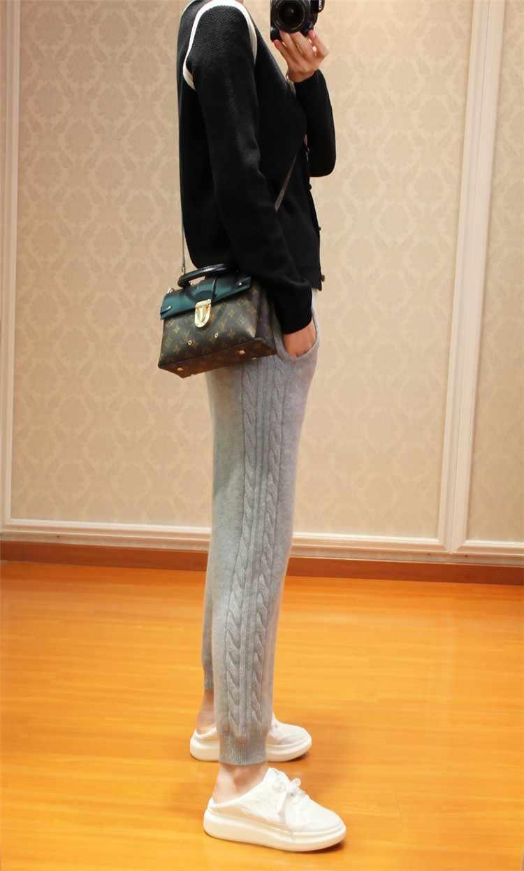 2019 여성의 가을과 겨울 유행 따뜻한 레깅스 여성 탄성 캐시미어 캐주얼 바지 여성 회색 패션 늑골이있는 바지