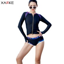 Купить с кэшбэком XARKE 3 Pieces Long Sleeve Swimsuit Women Push Up Bikini Set Zipper Surfing Shirt Female Water Sports Swimwear Black Swim Suit