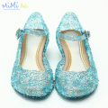 2017 Children Casual Shoes Girl Princess Shoes Frozen Hole Elsa Anna Blue Crystal Shoes PVC Solid Toddler Girl Shoes Light Up