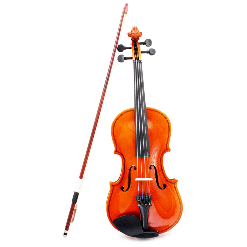 ADDFOO 1/4 Size Violin Fiddle Basswood Steel String Arbor Bow Craft Stripe Fiddle for Beginners