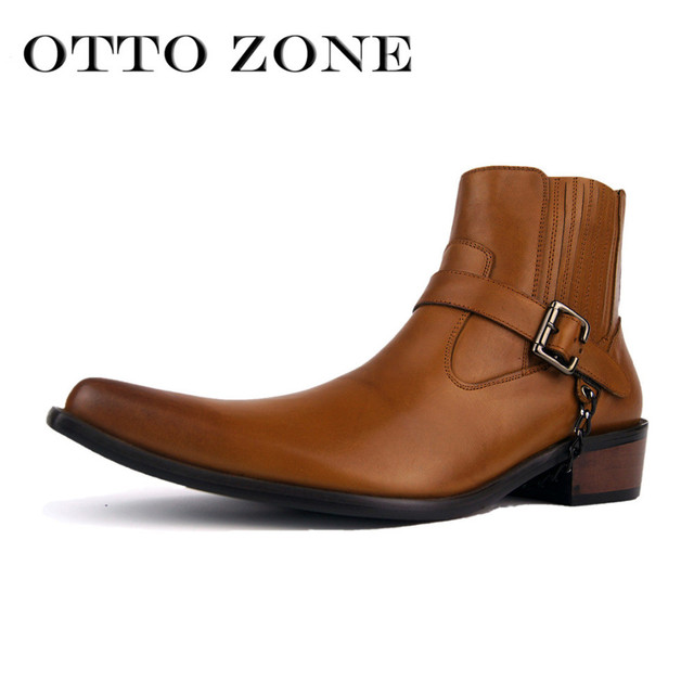 2017 OTTO ZONE Handmade Genuine Cow Leather Ankle Cowboy Boots Men Pointed  Toe Vintage Shoes Casual Brand Punk Boots 087c34c168e6