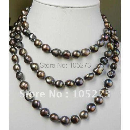 Потрясающе! Жемчужное ожерелье 48'inch длинное ожерелье AA 8-10 мм коричневого цвета пресноводное жемчужное ожерелье Модные ювелирные изделия NF211