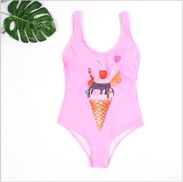2019 Sexy Black Pink One Piece Swimsuit Women Cute Ice Cream Print Swimwear Female Bathing Suits BeachWear Backless Monokini
