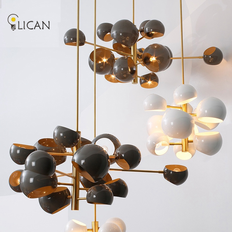 LICAN Loft Industrial Pendant Lights Black Gold Bar Stair Dining Room Glass Shade Suspension Luminaire Lamps For Living