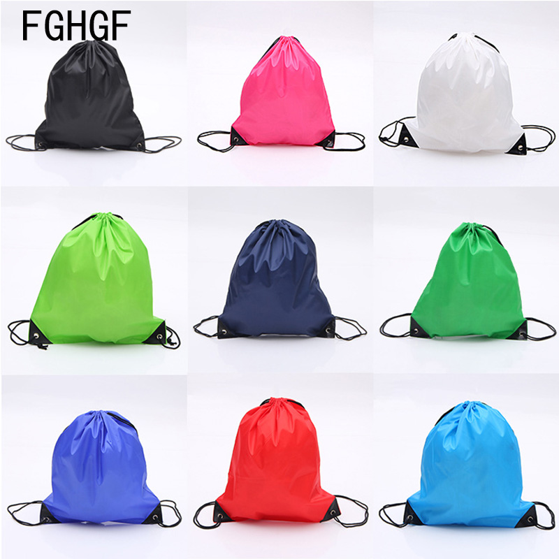 1PC Portable Men Women Sports Gym Bag Nylon Travel Drawstring Bags Belt Riding Backpack Drawstring Shoes Bag Clothes Running