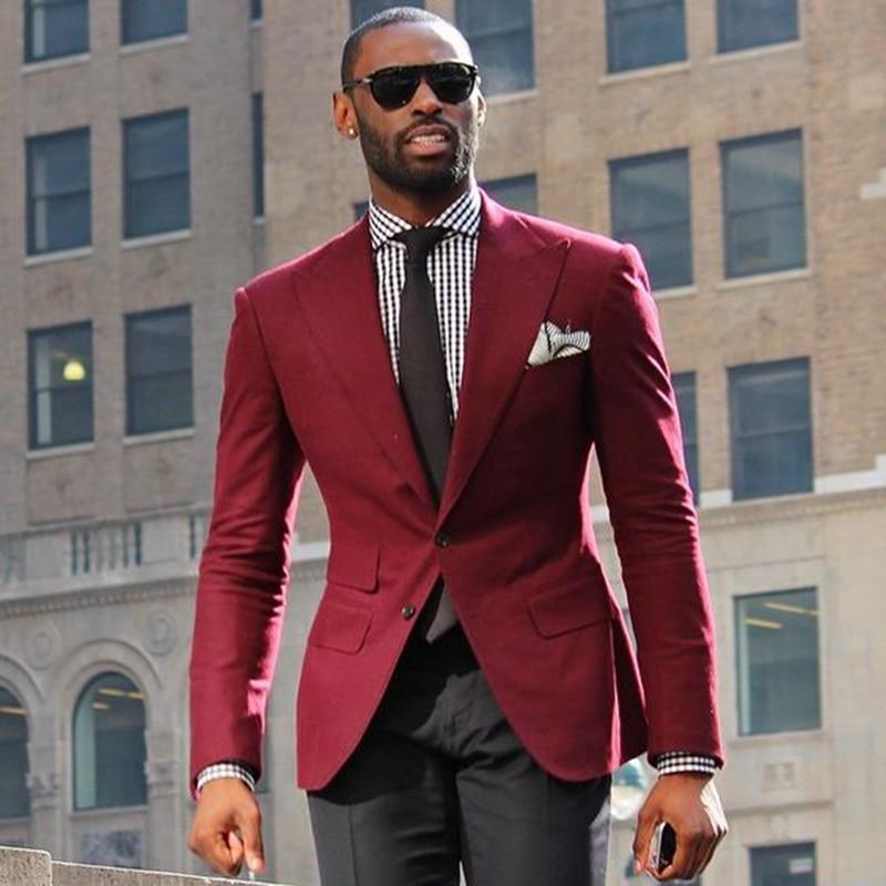 Costume Homme Men Suit 2017 Red Homens Blazer Men's Terno Slim Fit Blaser Masculino Vintage Wedding Suits For Men (jacket+pants)