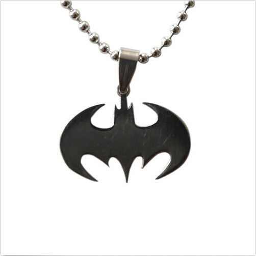 50cm Cosplay Fashion Silver Chain Men Necklaces Jewelry Necklace Slippy Bat Batman Sign Pendant Stainless Steel Pendant
