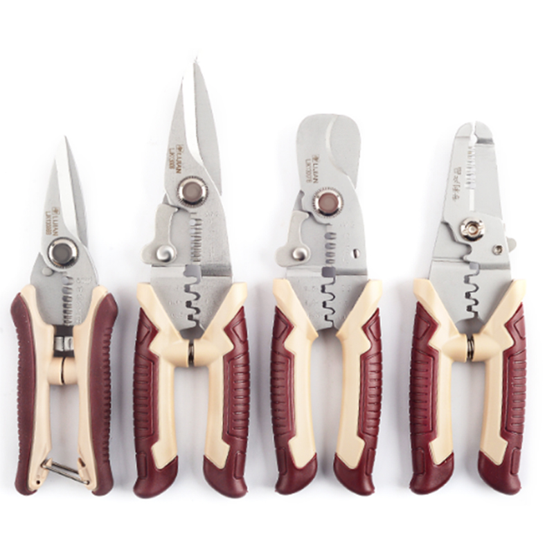 Freeshipping! 7/8 Household Scissors Crimping Pliers Wire Stripper Multifunctional Scissor Cable Cutter Electrician Multi Tool sheffield 8 inches 5 in 1 multifunctional electrician pliers electrical needle nose pliers wire stripper crimping 5 in 1 pliers