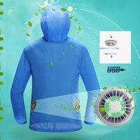 Кондиционер одежда Вентилятор охлаждения куртка открытый высокая Температура рабочих Рыбалка Охота охлаждения Солнцезащитная одежда