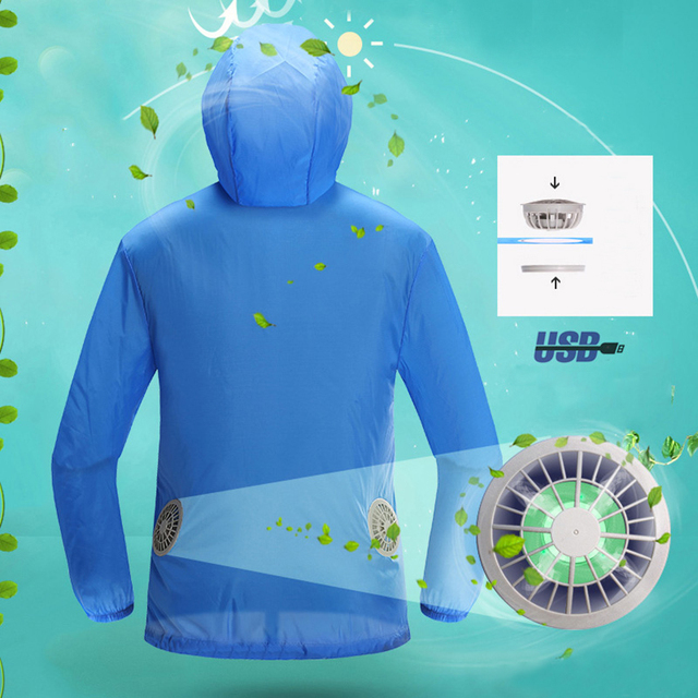 Work Product Protection Fishing For >> Air Conditioning Clothes Fan Cooling Jacket Outdoor High Temperature Working Fishing Hunting Cooling Sun Protection Clothing In Safety Clothing From