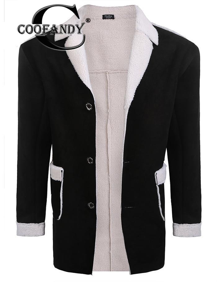 Best buy ) }}Fleece Winter Warm Lapel Fuax Suede Single-breasted Coat w/ Men