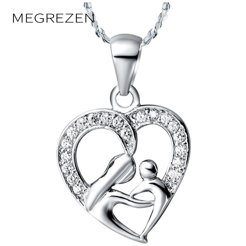 50% Off New 2016 Silver Chain Heart Shape Necklace Rhodium Set Jewelery With Stones Pendants For Women CS09