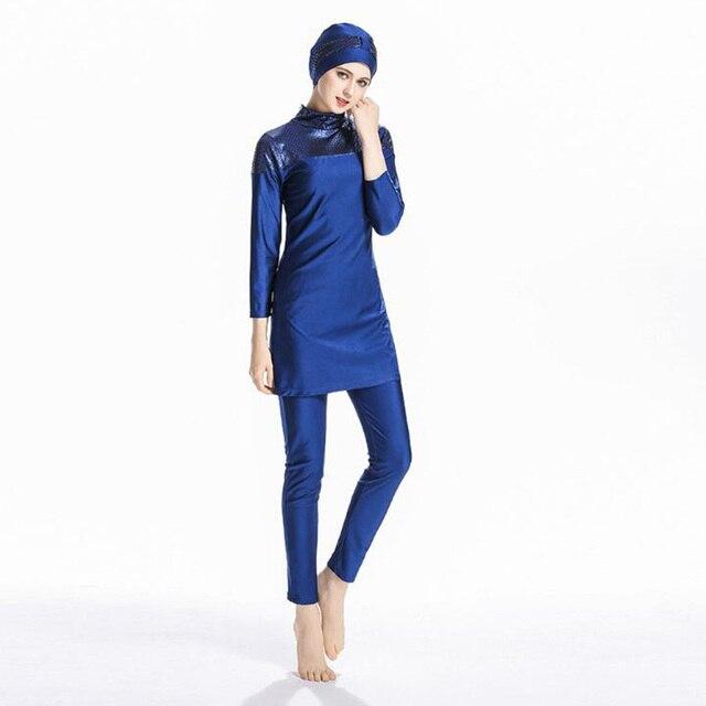 7bc9a11719e New Blue Muslim Sunscreen Swimwear Islamic Ladies Swimsuits Arab Islam  Beach Wear Modest Islamic Beach Wear Clothes