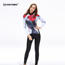 XINTOWN Sweat Long Sleeve Cycling Jersey Set Printing Rose MTB Bike Clothing Bicycle Jerseys Clothes Maillot Ropa Ciclismo
