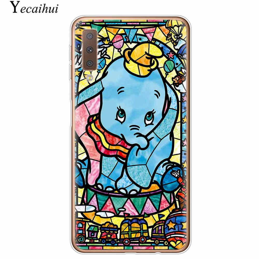 Sevimli Karikatür Dumbo Yumuşak TPU Kılıf Galaxy A5 A6 A7 A8 A9 J3 J5 J6 J4 J7 AB 2018 sürümü S7 S10 Kenar S8 S9 Artı Not 8 9 Kapak