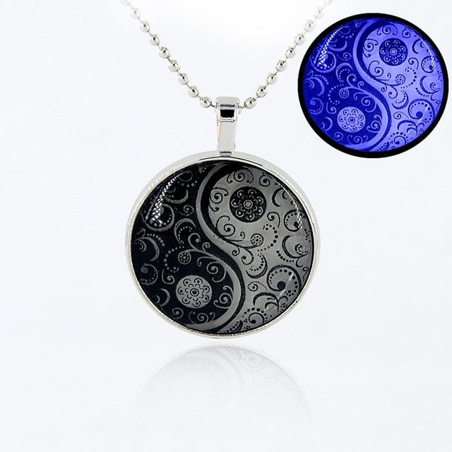 Vintage yin yang luminous pendants charm choker necklace men women vintage yin yang luminous pendants charm choker necklace men women mystical taiji glow in the dark aloadofball Image collections