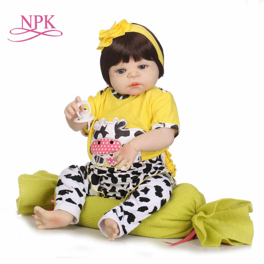 NPK Real 57CM Full Body SIlicone Girl Reborn Babies Doll Bath Toy Lifelike Newborn Princess Baby Doll Bonecas Bebe Reborn Menina
