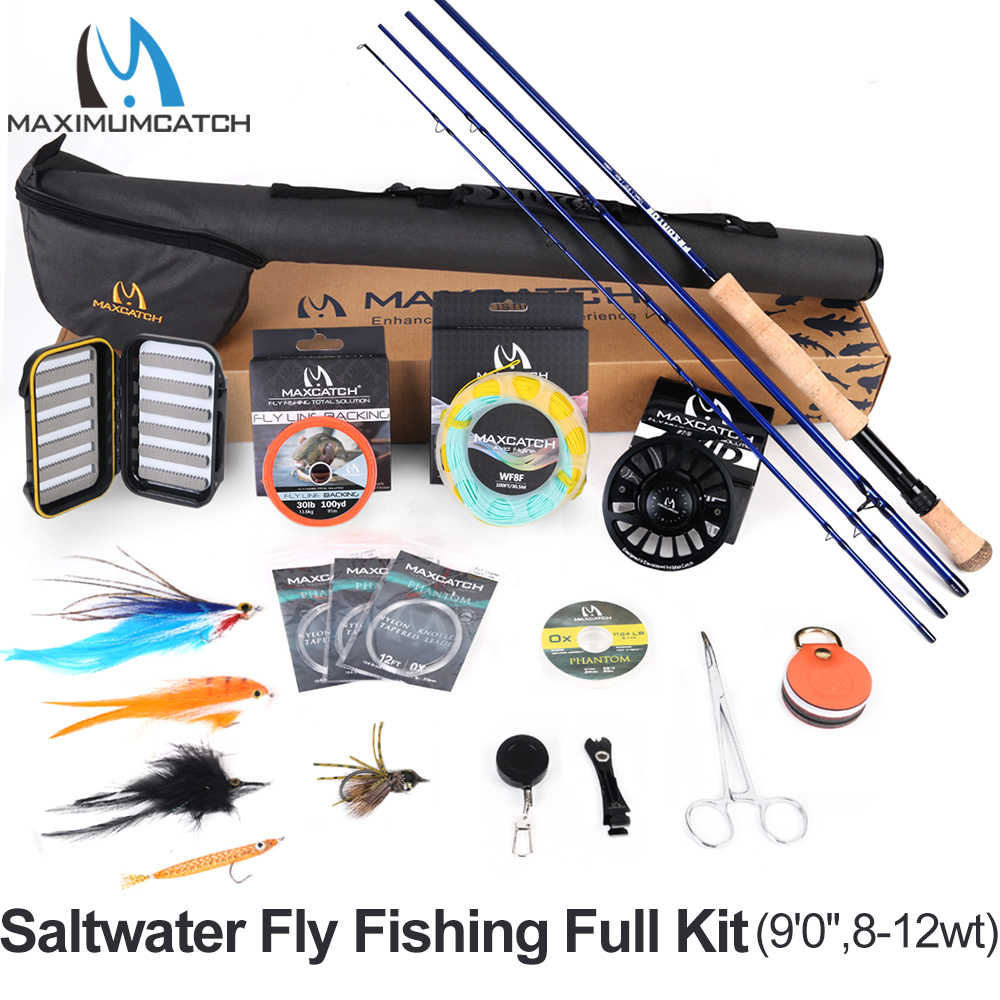 Maximumcatch Maxcatch Saltwater Fly Fishing Full Kit 2.7M Fly Fishing Rod 8-12wt CNC-machined Aluminum Fly Reel