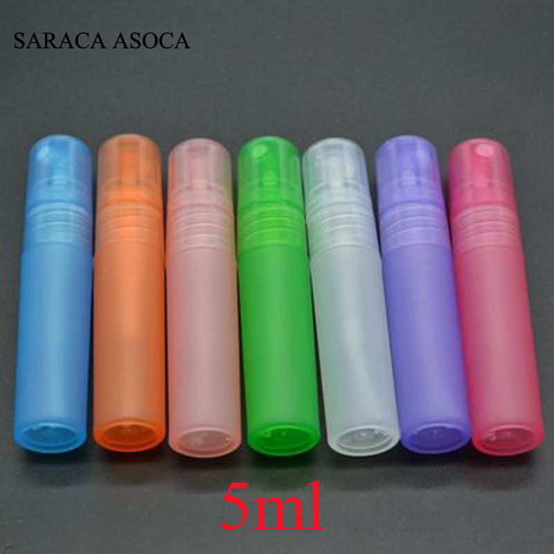 Mix Order 5ml Multicolor Ice Translucence Plastic Atomizer Bottle Travel Makeup Perfume Spray Refillable Bottle 100pcs/lot