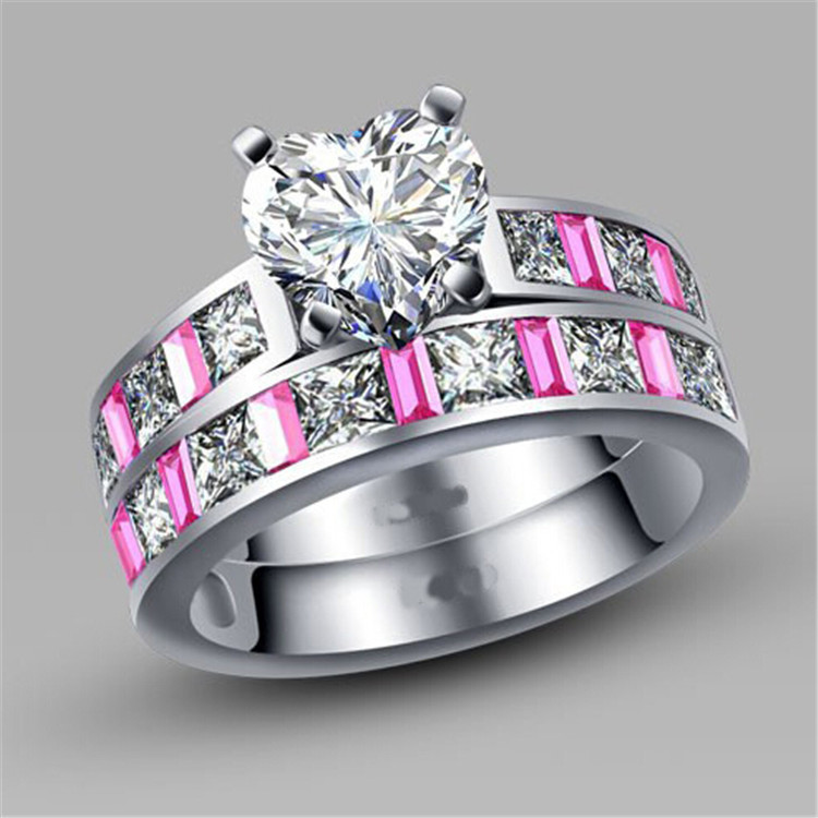 aliexpresscom buy defective rn3000 women solitaire white heart cubic zirconia engagement wedding ring set turkish couple ring jewelry maxi ring from
