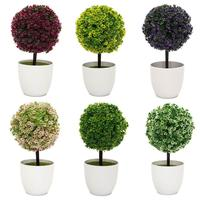 Plants Bonsai Vogue Artificial Mini Fake Flower Buxus Topiary Simulation Tree Ball in Pot For Garden Home Party Event Decor