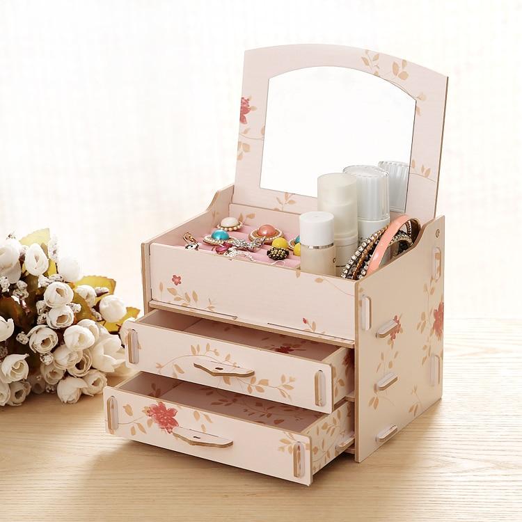 Diy High Quality Wooden Storage Box Make Up Organizer 3