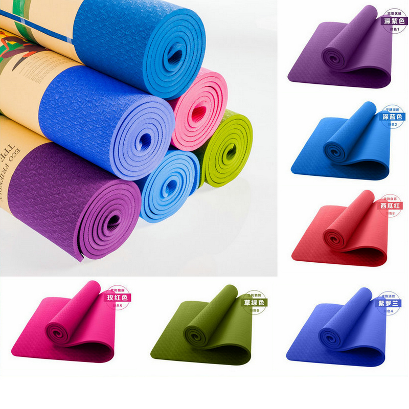 9 Colors TPE YOGA Mat Non-Slip Body Building Health Lose Weight Exercise Gym Household Cushion Fitness Pad 8mm 183cm&61cm ksua 5mm linen yoga mat high quality fitness professional slip resistant yoga mats exercise sports mat