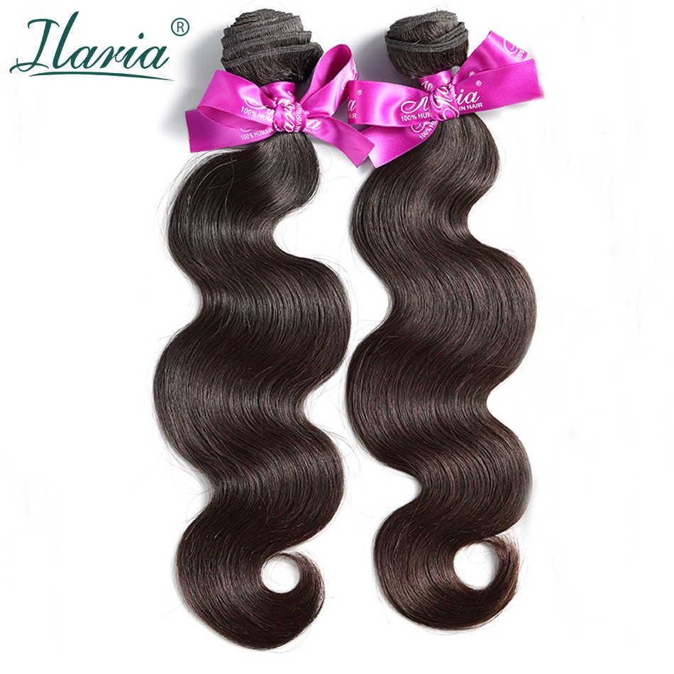 ILARIA cabello 7A onda del cuerpo paquetes de cabello virgen peruano 2 unids/lote 100% cabello humano tejido Remy cabello trama Color Natural de calidad superior