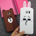 Bear rabbit slim cover for samsung galaxy note 3 4 5 7 A5 A7 A8 S3 S4 S5 S6 S7 edge TPU silicone 3d cute cartoon funny case